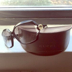 Fly Gucci shades with gold & rhinestones